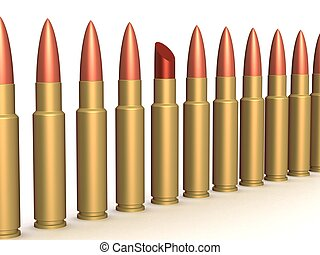 Lipstick among of some bullets. 3D image.