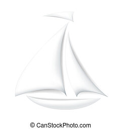 Isolated white boat with shadows