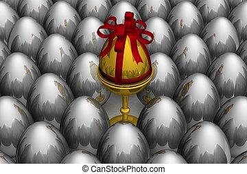 One gold egg among metal. 3D image.