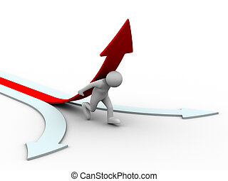 man climb red arrow. Isolated 3D image