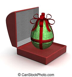 egg in gift packing. 3D image.