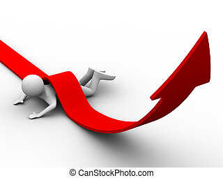 man climb red arrow Isolated 3D image