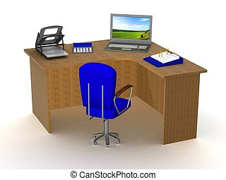Interior of office workplace. 3D