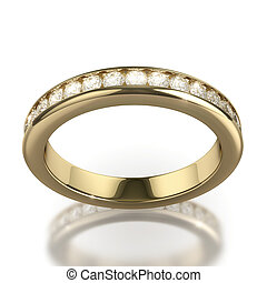 Wedding dIamond ring on white background - clipping path -...