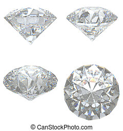 4 Diamonds set on white background - clipping path
