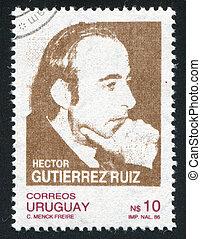 Hector Gutierrez Ruiz - URUGUAY - CIRCA 1987: stamp printed...