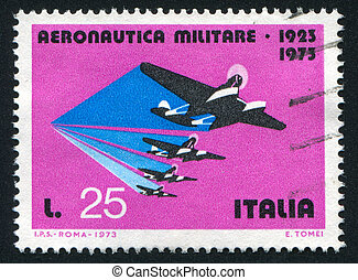 seaplanes - ITALY - CIRCA 1973: stamp printed by Italy,...