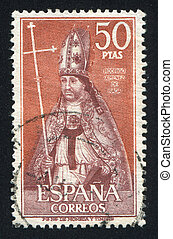 Bishop Rodrigo Ximenez de Rada - SPAIN - CIRCA 1969: stamp...