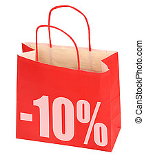 shopping bag with -10% sign on white background, photo does...