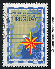 Compass Rose - URUGUAY - CIRCA 1972: stamp printed by...