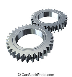 Metal gears on white background - clipping path
