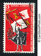 Flag of Spain and Ships - SPAIN - CIRCA 1965: stamp printed...