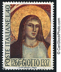 Madonna by Giotto - ITALY - CIRCA 1966: stamp printed by...