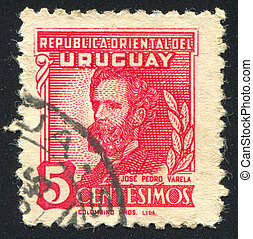 Jose Pedro Varela - URUGUAY - CIRCA 1945: stamp printed by...