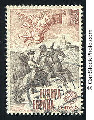 Mounted messenger and postilion - SPAIN - CIRCA 1979: stamp...
