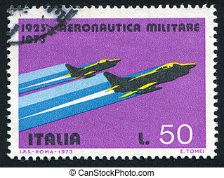 fighters - ITALY - CIRCA 1973: stamp printed by Italy, shows...