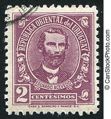 Eduardo Acevedo - URUGUAY - CIRCA 1945: stamp printed by...