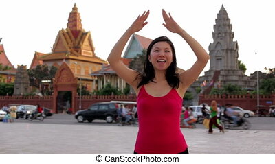 chinese woman posing for photo