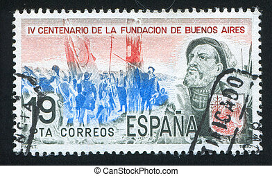 Spanish Conquistadors - SPAIN - CIRCA 1980: stamp printed by...