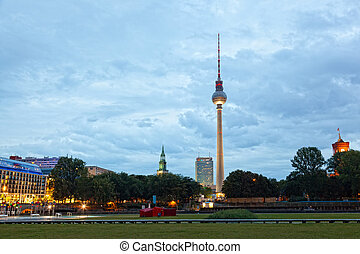 Evening view of a television tower in Berlin, Germany