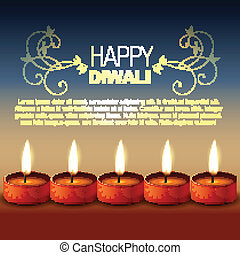 happy diwali - vector hindu festival happy diwali background