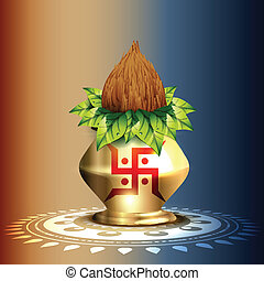 hindu worship kalash - beautiful hindu worship kalash vector...