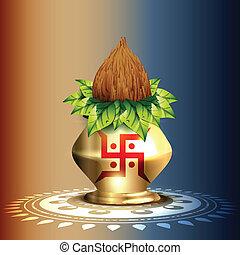 hindu worship kalash - beautiful hindu worship kalash vector...