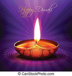 beautiful vector diwali diya - beautiful glowing vector...