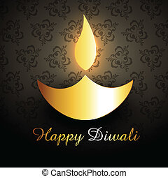 golden diwali diya - shiny golden vector diwali diya design...