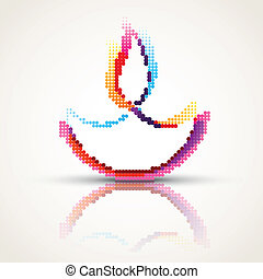colorful diwali diya - vector creative happy diwali diya in...