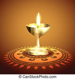 golden diwali diya vector background