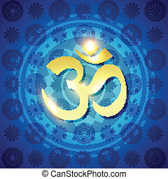 vector hindu om text - shiny vector golden om text on blue...