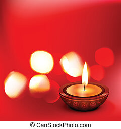 beautiful diwali diya - beautiful vector diwali diya on red...
