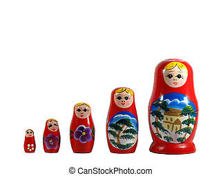 Russian nested dolls - Five Russian nested dolls isolated on...