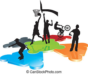 urban sport silhouettes on puzzle field - roller, bicycler...