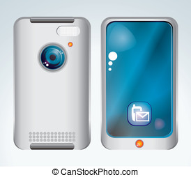 mobile phone on white isolated back
