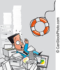 Rescue of overworked businessman - Illustration Rescue of...