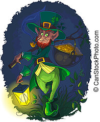 Leprechaun with gold coin pot - Vector illustration of...