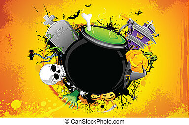 Halloween Cauldron - illustrartion of cauldron with skull in...