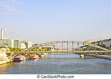 Austerlitz bridge and modern buildings in Paris, France