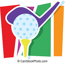 Golf Graphic - A golf club and ball on a stylized striped...