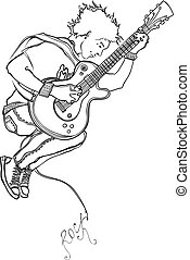musician - The musician plays a guitar in a jump.