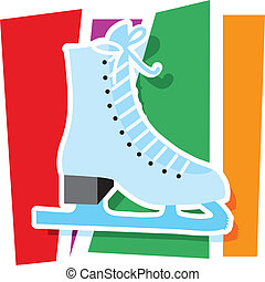 Ice Skate Graphic - An ice skate on a stylized striped...