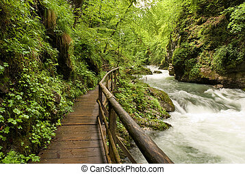 river - wooden path trough beautiful canyon with river