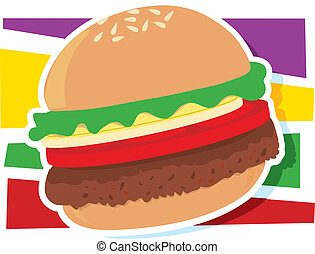 Hamburger Graphic - A single hamburger on a stylized striped...