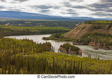 Five Finger Rapids of Yukon River Yukon T Canada -...