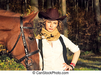 hermoso, Vaquera, caballo, rojo, ella