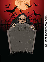 Halloween Grim Reaper - Halloween horrible Grim Reaper over...