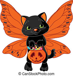 Cute Halloween cat - Cat with bag full of Halloween treats...