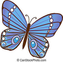 Blue Butterfly - Red Orange Illustrated Butterfly